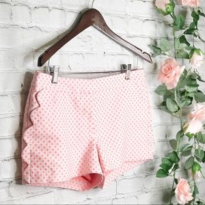 J. Crew Scalloped Shorts White & Pink Polka Dot